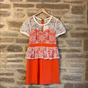 Orange & cream lace peplum dress (M)